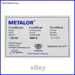 100 Gram Metalor Gold Bar. 9999 Fine (Cast, withAssay)