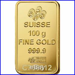 100 gram (100g) Fine Gold Bar 999.9 PAMP Suisse Lady Fortuna Veriscan