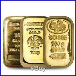 100 gram Generic Gold Bar. 999+ Fine (Secondary Market)