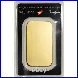100 gram Gold Bar Argor Heraeus 999.9 Fine in Assay