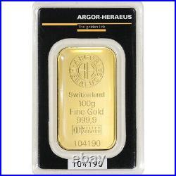 100 gram Gold Bar Argor Heraeus Kinebar Hologram 999.9 Fine in Assay