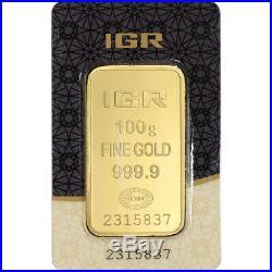 100 gram IGR Gold Bar Istanbul Gold Refinery 999.9 Fine in Sealed Assay