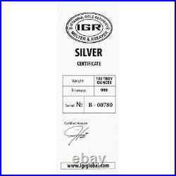 100 oz IGR Silver Bar Istanbul Gold Refinery Cast. 999 Fine with Assay