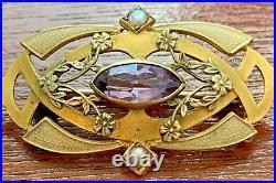 10K Yellow Gold, Amethyst & Seed Pearl Victorian Art Nouveau Bar Brooch Pin