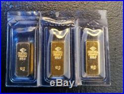 10 Gram. 9999 Fine Gold Degussa Feingold Bar Rare Sealed lot of 3