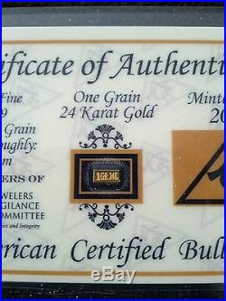 (10 Pack) Acb Gold 24k Solid Bullion Minted 1grain Bars 9999 Fine Certificate! $