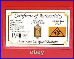 (10 Pack) of ACB 5GRAIN 24K SOLID GOLD BULLION MINTED BAR 99.99 FINE WithCOA +