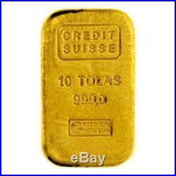 10 Tolas 3.75 oz Credit Suisse Gold Cast Bar. 999 Fine