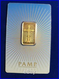10 g gram Gold Bar -PAMP SUISSE 999.9 Fine in Sealed RARE CRUCIFIX Assay
