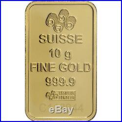 10 gram Gold Bar PAMP Suisse Fortuna 999.9 Fine in Sealed Assay