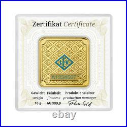 10 grams Geiger original square. 999 fine gold bar in assay