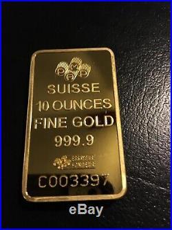 10 oz Gold Bar Pamp Suisse Fortuna 999.9 Fine 24kt in Case withAssay