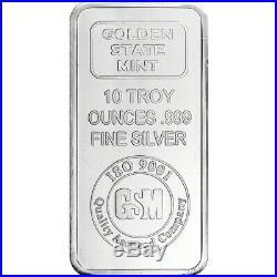 10 oz. Golden State Mint Silver Bar. 999 Fine