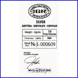 10 oz. Istanbul Gold Refinery IGR Silver Bar. 999 Fine