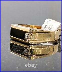 10kt Fine Yellow Gold Bar Cut Black Onyx & Natural Diamond Ring Size 9 Vintage