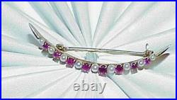 14K 8 Ruby 9 Seed Pearl Crescent Bar Pin Brooch Antique Estate Victorian