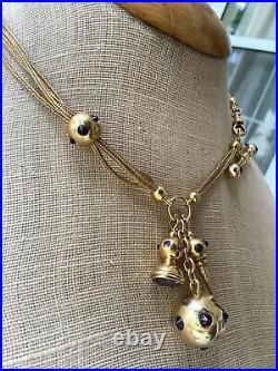 14K Four Strand Victorian Inverted Amethyst Gold Watch Chain Key Fob T-bar