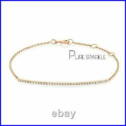 14K Gold 0.24 Ct. Diamond Bar Minimalist Chain Bracelet Fine Jewelry