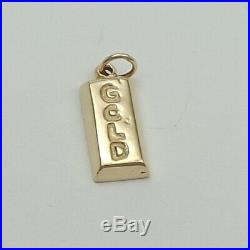 14K Gold 3D Solid Gold Bullion Bar Charm Pendant 3.7gr
