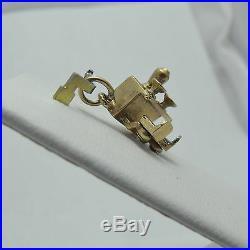 14K Gold Enamel 3D Articulated Bar Diner Stools Charm PendantT 2.7gr