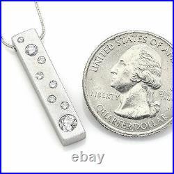 14K White Gold 0.53 TCW Diamond Matte Bar Pendant Necklace 6.7Gr G/H VS-2
