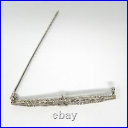 14 kt White Gold ART DECO Diamond Filigree Brooch Bar Pin circa 1930's A7351