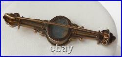 14k Gold Victorian Etruscan Handpainted Porcelain Cherub Locket Bar Pin Brooch