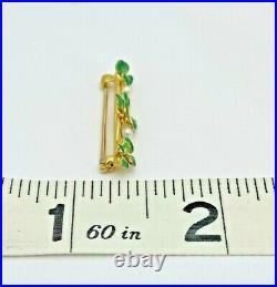 14k Yellow Gold 3 Flower And Green Enamel Bar Pin 2 Grams Brooch Pin