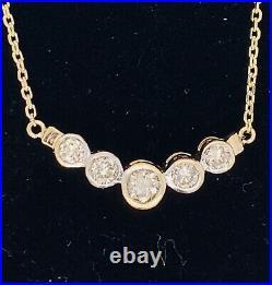 14k Yellow Gold Diamond Bezel Necklace