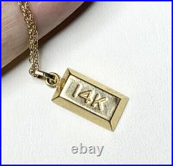 14k gold BAR charm Necklace. Yellow Gold Pendant. Vintage Jewelry. 18 Chain