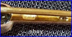 15 carat solid gold & aquamarine vintage Art Deco antique bar brooch