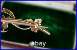 15ct Gold Antique Fine Victorian Seed Pearl Crescent Moon Bar Old Brooch Pin