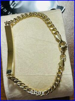 18K 750 Fine Real Saudi Gold 7 Long Womens Cuban Bar Bracelet With 6.8g 4mm