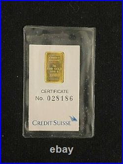 1985 2 gram Credit Suisse Gold Bar 999.9 Fine