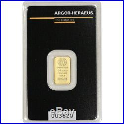 1/10 oz Gold Bar Argor Heraeus 999.9 Fine in Assay