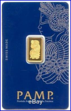 1 2 1/2 Gram. 9999 Fine Gold Bar PAMP Suisse Brilliant Uncirculated