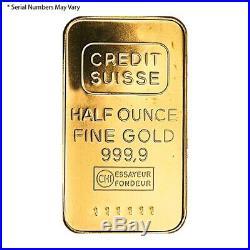 1/2 oz Credit Suisse Gold Bar. 9999 Fine