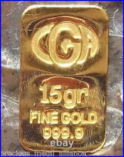 1 5 Grain (not Gram) Cga 24k Pure 999.9 Fine Gold Bullion Minted Limited Bar
