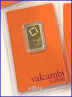 1- 5 Gram 999.9 Fine Gold Valcambi Suisse Gold Bar