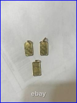 1 Gram 999.9 Fine Gold Bar Credit Suisse Pendant Frame & Bail