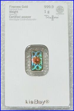 1 Gram Heraeus Swiss Hologram Kinebar Solid Fine 999.9 Gold Bullion Bar Sealed