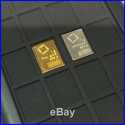 1 Gram Platinum & 1g Gold bullion. 9999 fine bar Element Card Valcambi 24K