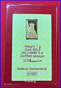 1 Gram STATUE OF LIBERTY CREDIT SUISSE. 9999 fine GOLD BAR-Ingot in Assay Card