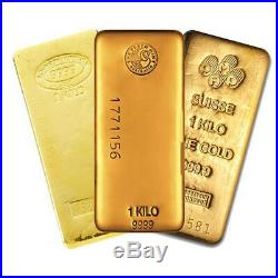 1 Kilo (32.15 oz) Generic Gold Bar. 999 Fine (IRA-approved)