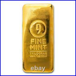 1 Kilo Cast-Poured Gold Bar 9Fine Mint SKU#211314