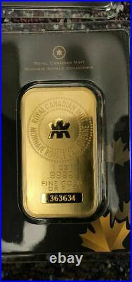 1 OUNCE ROYAL CANADIAN MINT. 9999 FINE GOLD BAR 1 oz