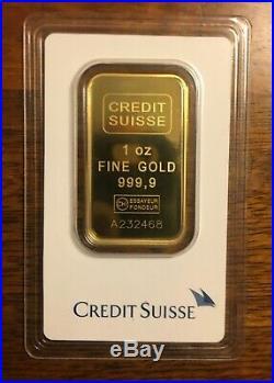 1 Oz Fine Gold Bar Au 999.9 By Credit Suisse A232468