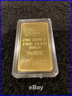 - 1 Troy Oz Credit Suisse Gold Bar. 9999 Fine