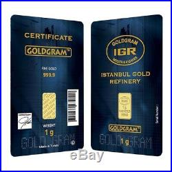 1 gram 24K 999.9 FINE GOLD BULLION BAR LBMA CERTIFIED (1G-IGR) gold bullion bar