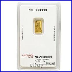 1 gram Credit Suisse Statue of Liberty Gold Bar. 9999 Fine (In Assay)